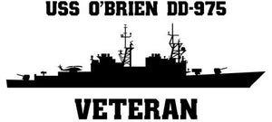 USS O'Brien DD-975 Veteran Vinyl Sticker