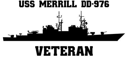 USS Merrill DD-976 Veteran Vinyl Sticker