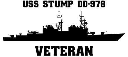 USS Stump DD-978 Veteran Vinyl Sticker  USS Stump DD-978 was the 16th SPRUANCE - class U.S. Navy destroyer and the first ship in the U.S. Navy named after Admiral Felix B. Stump.