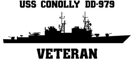 USS Conolly DD-979 Veteran Vinyl Sticker  USS Conolly DD-979 was the 17th SPRUANCE - class U.S. Navy destroyer and the first ship in the U.S. Navy named after Admiral Richard Lansing Conolly.