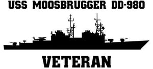 USS Moosbrugger DD-980 Veteran Vinyl Sticker