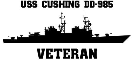 USS Cushing DD-985 Veteran Vinyl Sticker  USS Cushing DD-985 was the 23rd SPRUANCE - class U.S. Navy destroyer and the last ship in her class to be decommissioned.