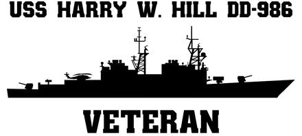 USS Harry W. Hill DD-986 Veteran Vinyl Sticker  USS Harry W. Hill DD-986 was the 24th SPRUANCE - class U.S. Navy destroyer and the third ship in that class decommissioned.
