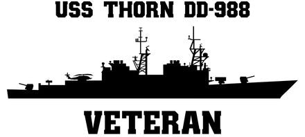 USS Thorn DD-988 Veteran Vinyl Sticker