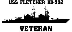 USS Fletcher DD-992 Veteran Vinyl Sticker