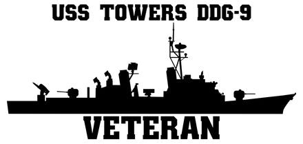 USS Towers DDG-9 Veteran Vinyl Sticker