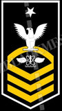 Naval Air Crewman (AW) U.S. Navy Rating Badge Insignia Senior Chief White Gold