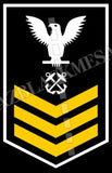 Boatswain's Mates (BM) U.S. Navy Rating Badge Insignia First Class White Gold