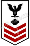 Boiler Technician (BT) U.S. Navy Rating Badge Insignia First Class Black Red