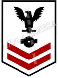 Boiler Technician (BT) U.S. Navy Rating Badge Insignia Second Class Black Red