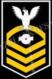 Boiler Technician (BT) U.S. Navy Rating Badge Insignia Chief White Gold