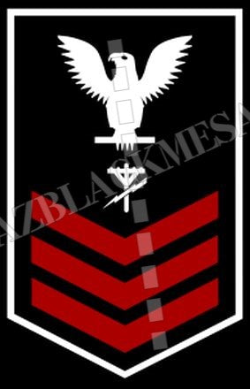 Construction Electrician (CE) U.S. Navy Rating Badge Insignia First Class White Red