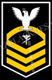 Construction Electrician (CE) U.S. Navy Rating Badge Insignia Chief White Gold