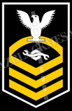 Construction Mechanic (CM) U.S. Navy Rating Badge Insignia Chief White Gold