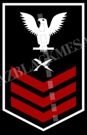 Cryptologic Technician (CT) U.S. Navy Rating Badge Insignia First Class White Red