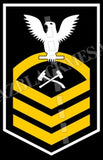 Damage Controlmen U.S. Navy Rating Badge Insignia Chief White Gold