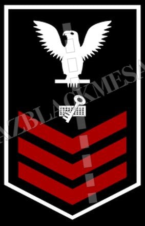 Disbursing Clerk (DK) U.S. Navy Rating Badge Insignia First Class White Red