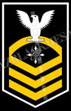 Data Systems Technician (DS) U.S. Navy Rating Badge Insignia Chief White Gold