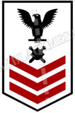 Explosive Ordnance Disposal Technicians (EOD) U.S. Navy Rating Badge Insignia First Class Black Red