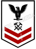 Hull Maintenance Technician (HT) U.S. Navy Rating Badge Insignia Second Class Black Red