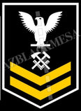 Hull Maintenance Technician (HT) U.S. Navy Rating Badge Insignia Second Class White Gold