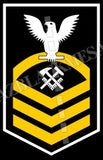 Hull Maintenance Technician (HT) U.S. Navy Rating Badge Insignia Chief White Gold