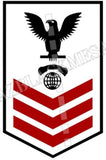 Interior Communications Electrician (IC) U.S. Navy Rating Badge Insignia First Class Black Red