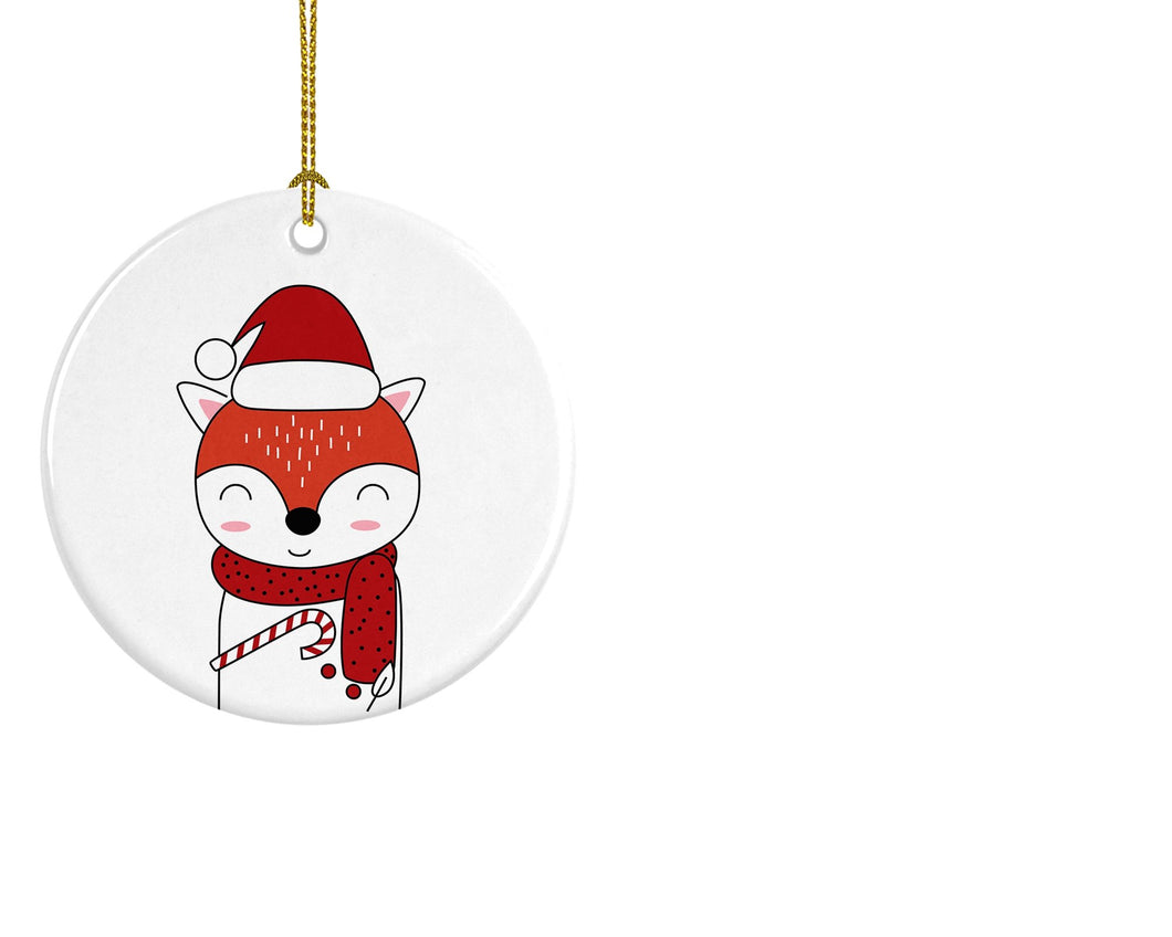 Christmas Fox Ceramic ornament - Round - Don't take it personal