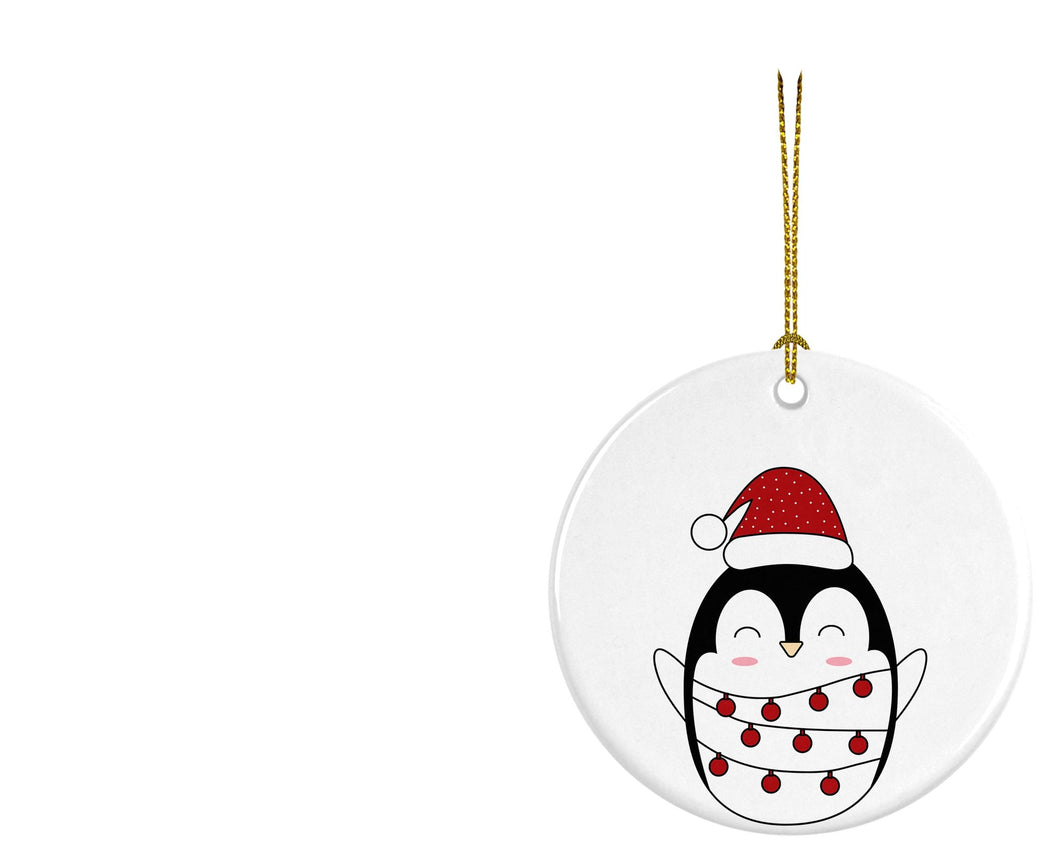 Christmas Penguin Ceramic ornament - Round - Don't take it personal