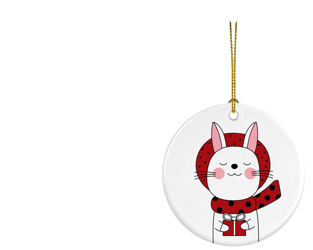 Christmas Rabbit Ceramic ornament - Round - Don't take it personal