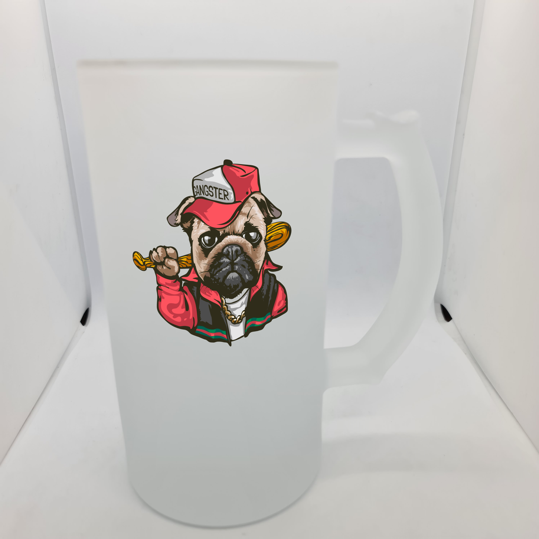 Gangster Pug Beer Glass - Don't take it personal