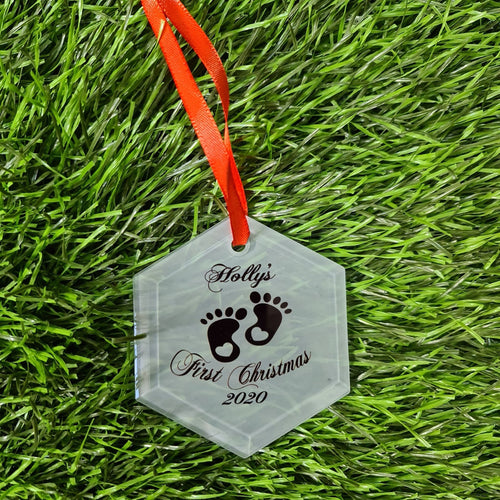 Personalised Baby's first Christmas Hexagonal Glass Decoration - Don't take it personal