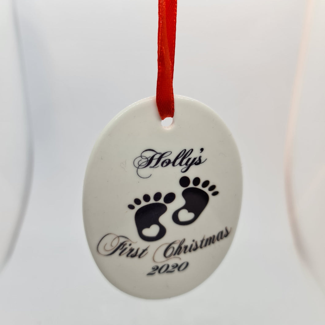 Personalised Baby's first Christmas Oval ceramic Decoration - Don't take it personal