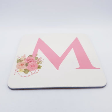 Pink floral Monogram Coaster - Don't take it personal