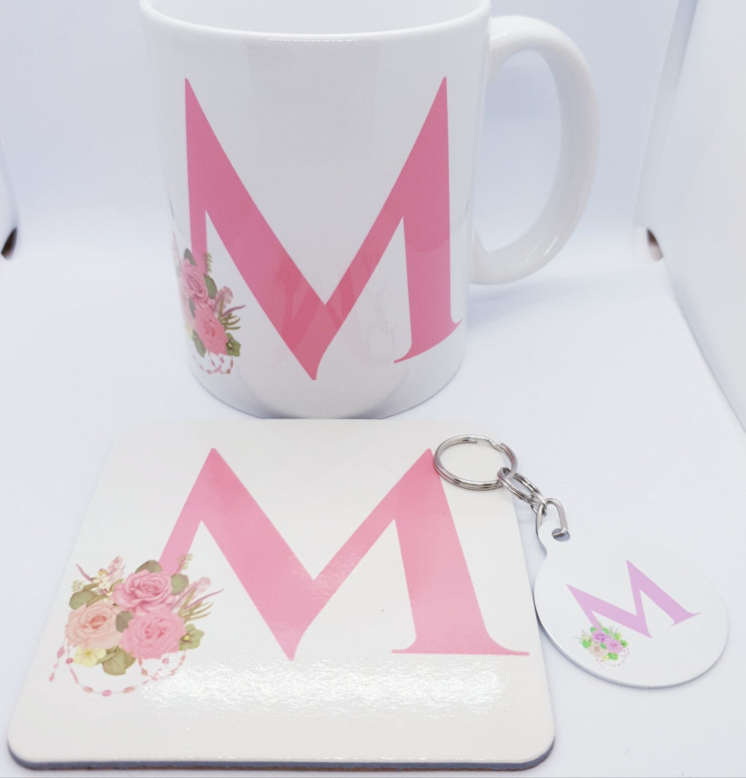 Pink floral Monogram Gift set - Don't take it personal