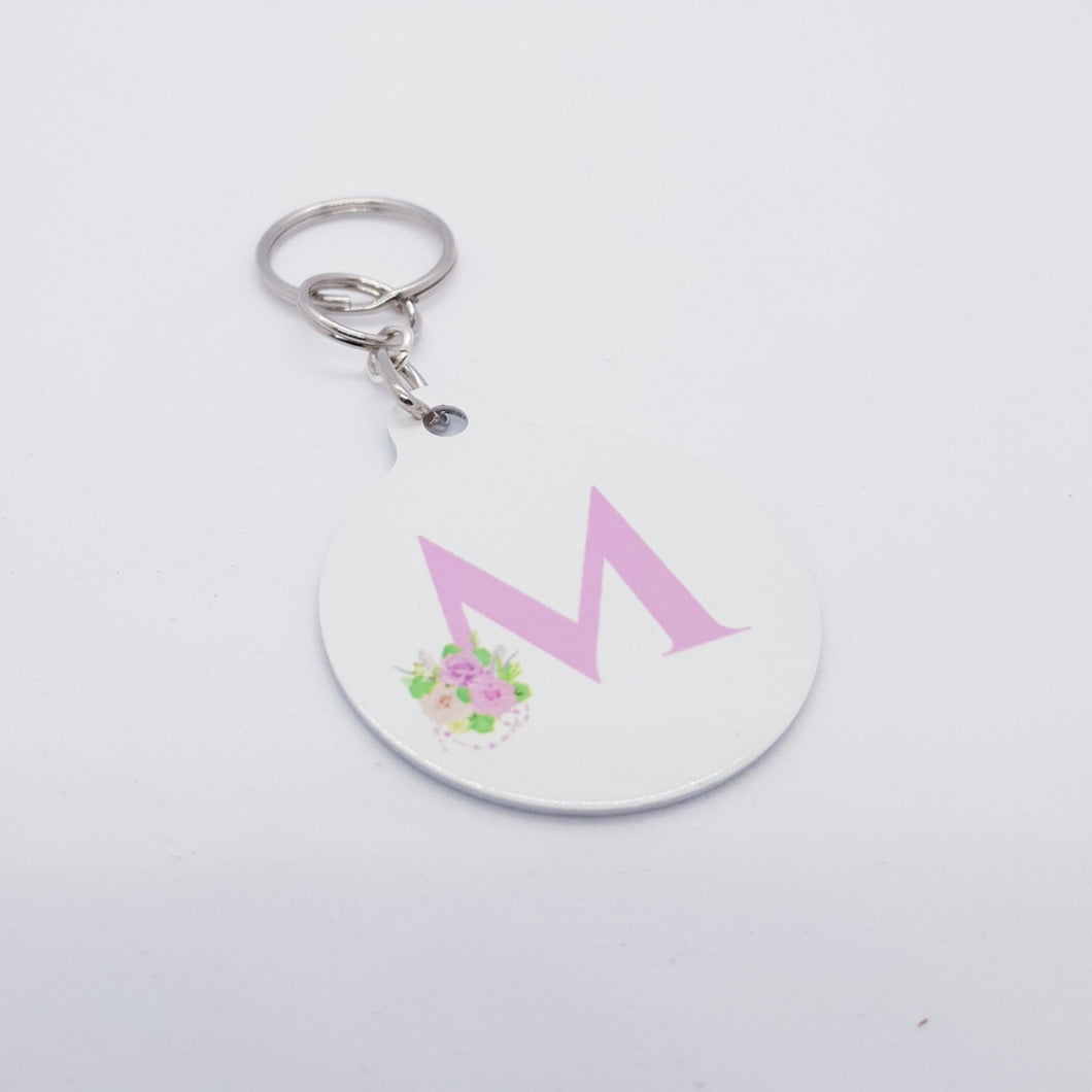 Pink floral Monogram Keyring - Don't take it personal