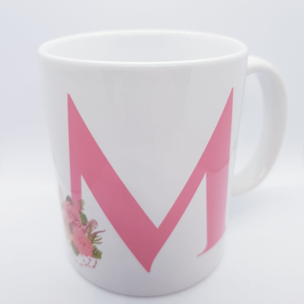 Pink floral Monogram mug - Don't take it personal