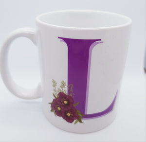 Purple floral Monogram Mug - Don't take it personal