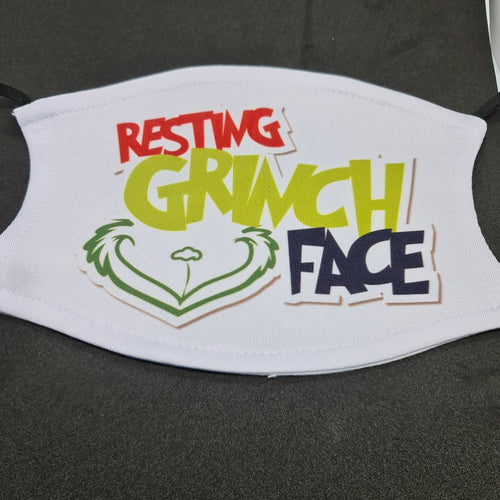 Resting Grinch face Christmas face mask with filter pouch and 2 x PM2.5 filters - Don't take it personal