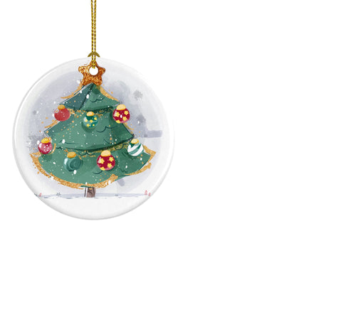 Vintage Christmas Tree Ceramic ornament - Round - Don't take it personal