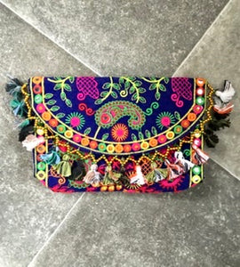 Boho Embroidered Tassel Clutch
