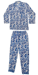 Maddie Hand-Printed  Indian Cotton Pyjamas