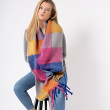 Load image into Gallery viewer, Molly Bright Pastel Checked Chunky Scarf