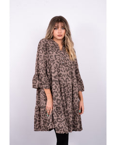 Nadine Leopard Print Tiered Dress