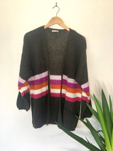Nellie Stripe Accent Wool Mix Cardi
