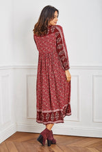 Load image into Gallery viewer, Lucinda Boho Tassel Midi Dress. Wine Print