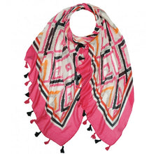 Load image into Gallery viewer, Celia Ikat Print Tassel Scarf