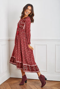 Lucinda Boho Tassel Midi Dress. Wine Print
