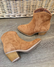 Load image into Gallery viewer, Rachel Faux Suede Cowboy Style Ankle Boots - Tan