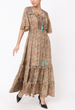 Load image into Gallery viewer, Pandora Silk Mix Angel Sleeved Maxi Dress